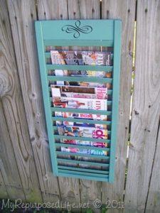 diy magazine storage from a shutter