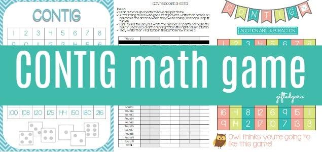 CONTIG math game - freebie