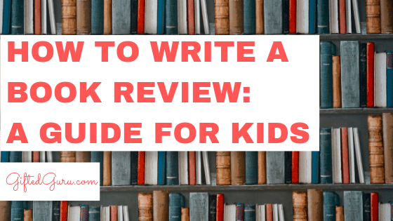 featured image for blog post on how to write a book review: a guide for kids books on a shelf with writing