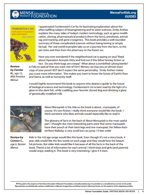 screenshot of book review guide for students by Gifted Guru