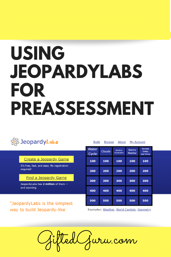 featured image for article on GiftedGuru.com on using Jeopardylabs for preassessment in the classroom