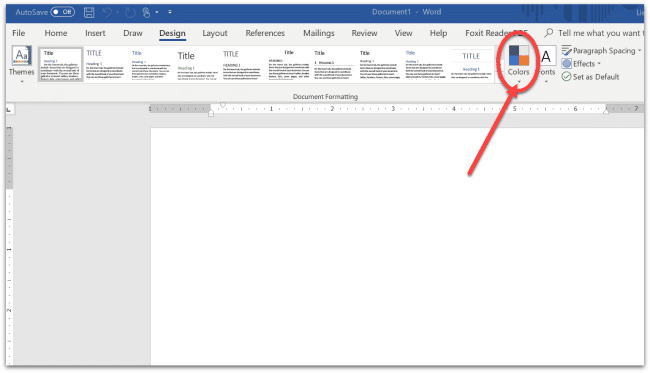 screenshot of how to change color palette in microsoft Word