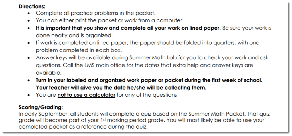 image of math packet instructions