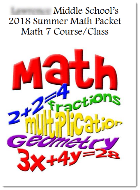 image of cover of summer math packet