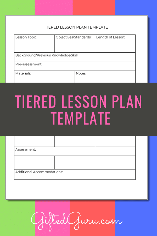 pinterest image for Tiered Lesson Plan Template article