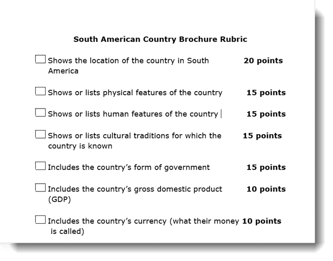 screenshot of rubric for south america brochure project