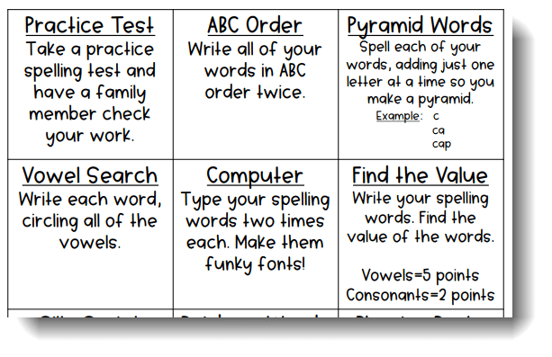menu of choices for spelling activities