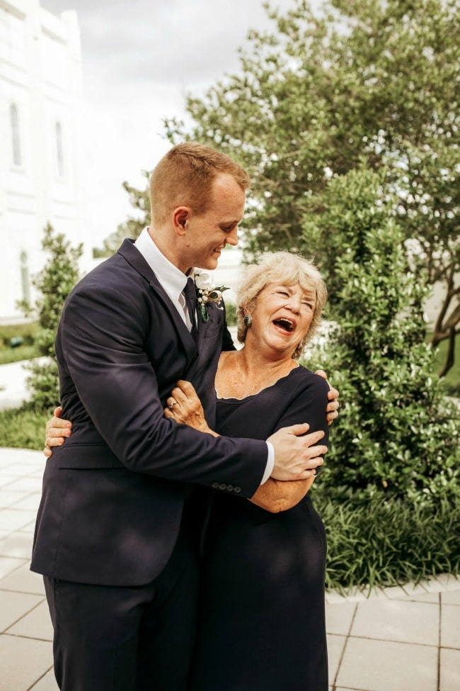 young man and his grandmother