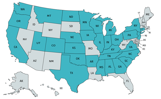 map of united states with some states filled in