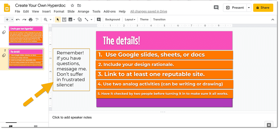 screenshot of google slide with note to side
