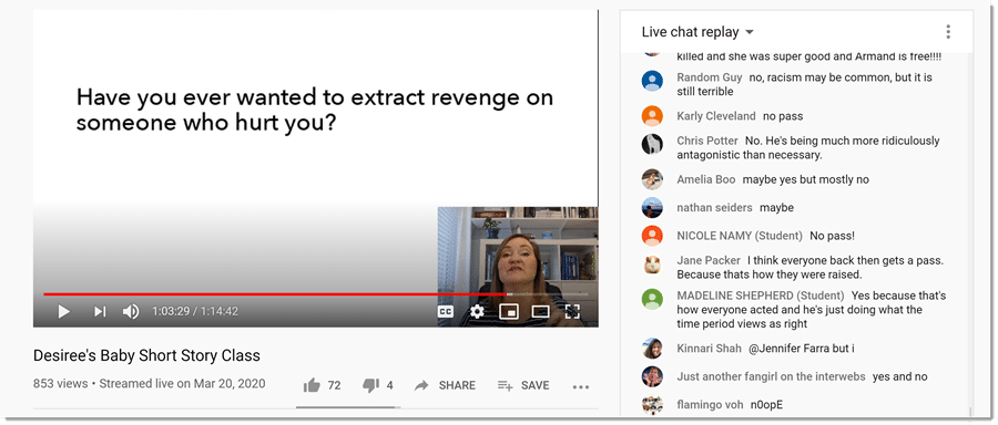 screenshot from YouTube of teacher asking question and students responding in chat