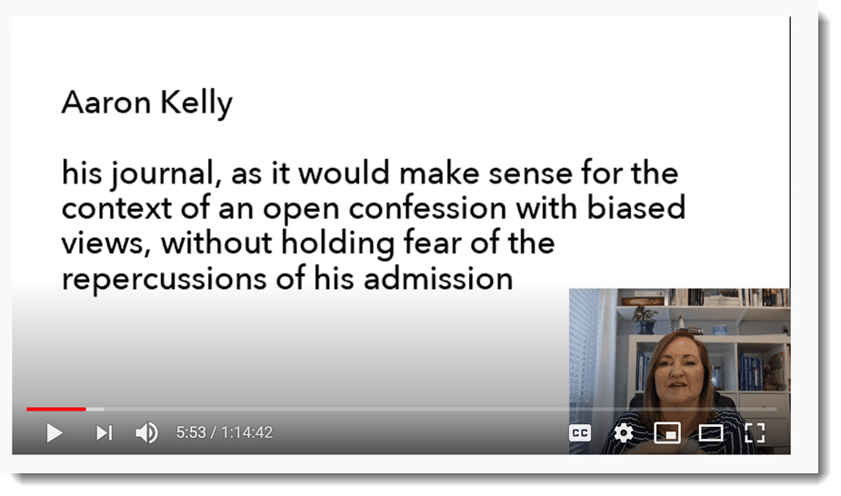 screenshot of teacher and quote from student
