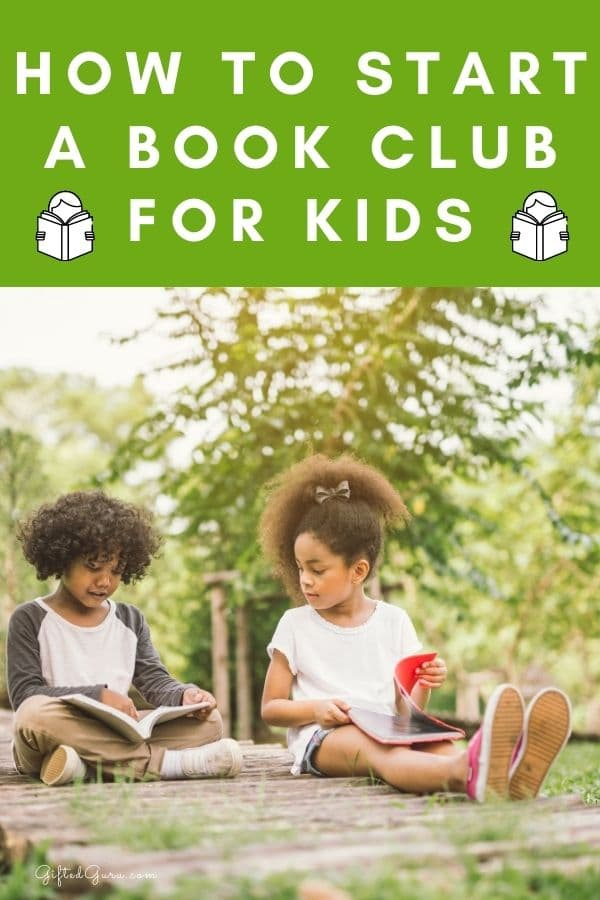 boy and girl reading with text how to start a book club for kids