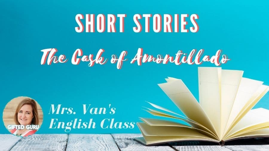 open book with title the cask of amontillado