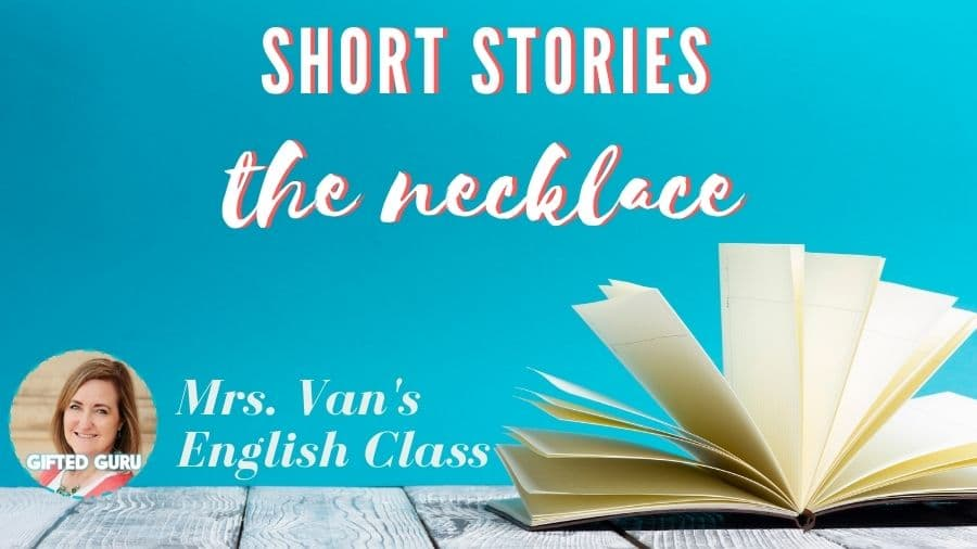 open book with title short stories the necklace