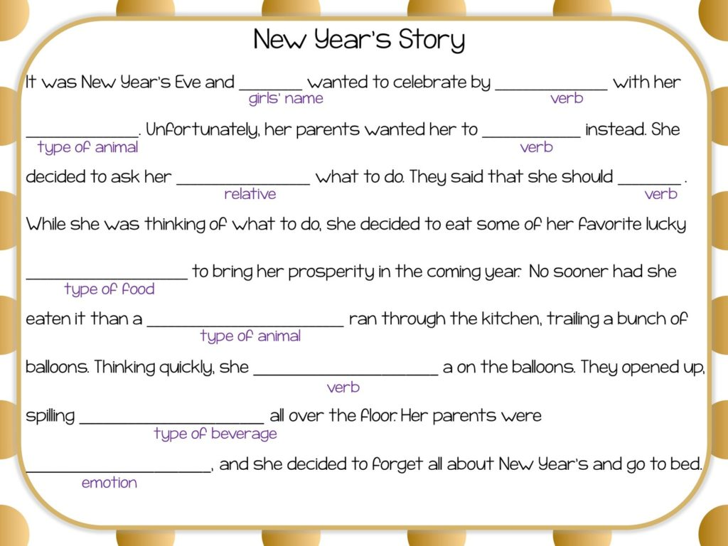 gold dot background with Mad Lib-like New Year's Activity