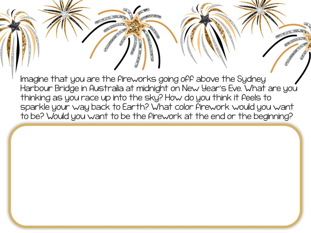 glittery fireworks with text and text box