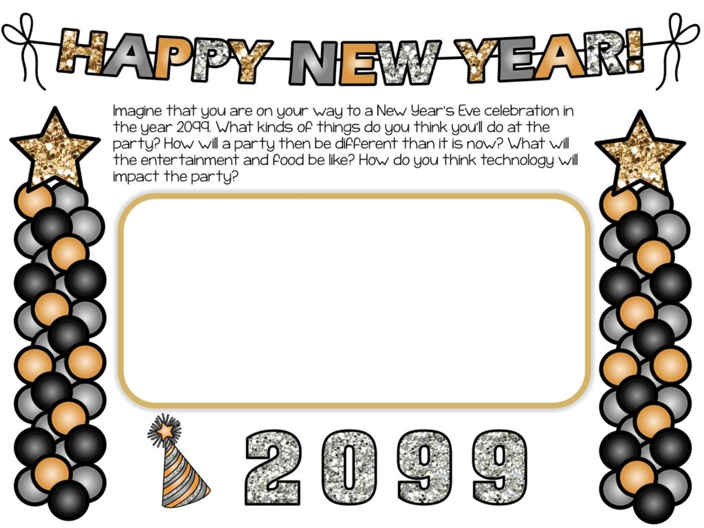"""banner """"Happy New Year"""" with balloons and text and text box"""