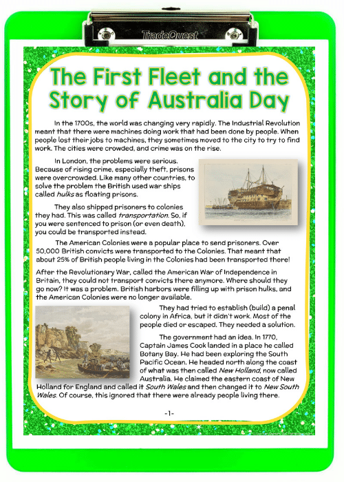 green clipboard with The First Fleet and the Story of Australia Day paper on it