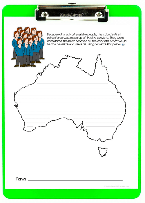 green clipboard with Australia Day writing prompt on paper