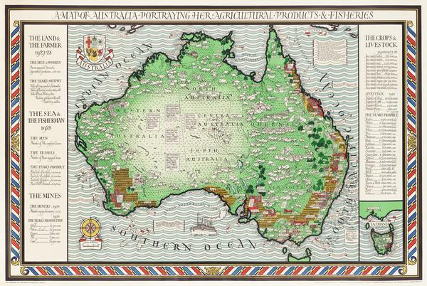 old drawn map of Australia