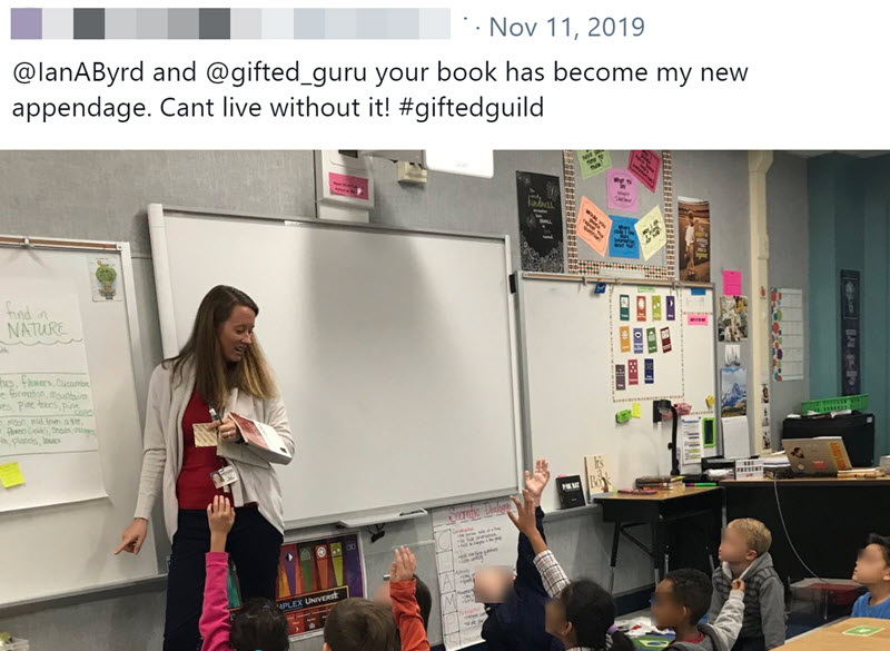 tweet of teacher holding Gifted Guild's Guide to Depth and Complexity over arm