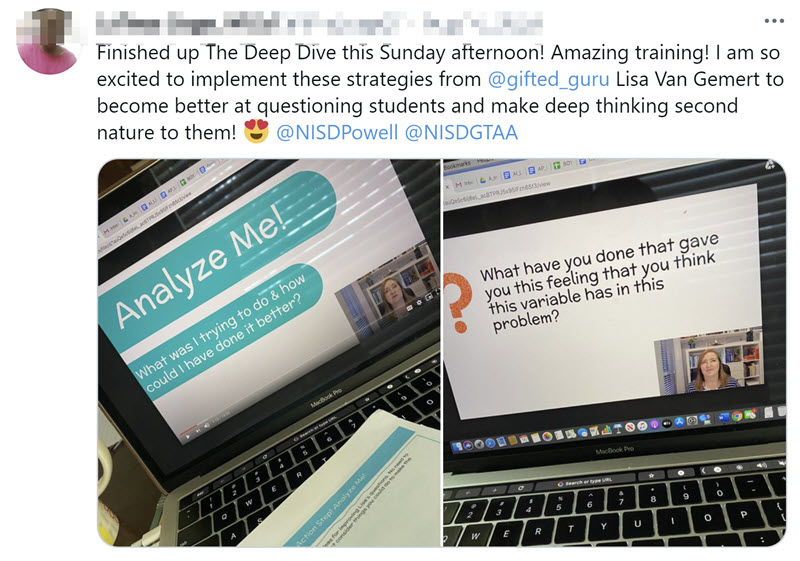 "tweet with two computer screens and text ""amazing training! I am so excited to implement these strategies."""